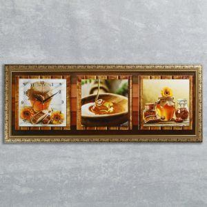 """Часы-картина настенные, серия: Кухня, """"Медовая фантазия"""", 35х100  см, микс 1210485"""