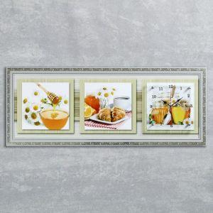 """Часы-картина настенные, серия: Кухня, """"Медовая фантазия"""", 35х100  см, микс 1222608"""