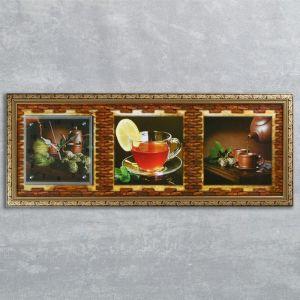 """Часы-картина настенные, серия: Кухня, """"Чайная церемония"""", 35х100  см, микс 1210493"""