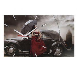 """Часы-картина настенные, серия: Люди, """"Rain"""", 61х37  см, микс 1113038"""