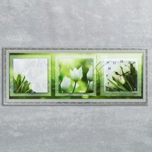 "Часы-картина настенные, серия: Цветы, ""Белые тюльпаны"", 35х100  см, микс 1210507"