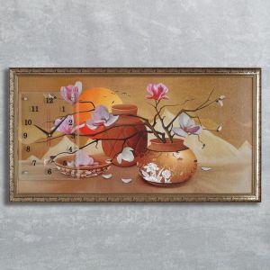 "Часы-картина настенные, серия: Цветы, ""Закат в пустыне"", 50х100  см, микс 1210540"