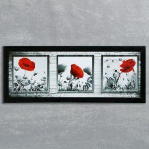 """Часы-картина настенные, серия: Цветы, """"Красный мак"""", 35х100  см, микс 1222615"""