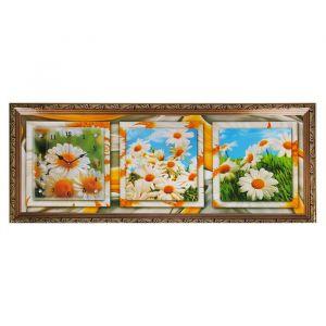 """Часы-картина настенные, серия: Цветы, """"Летние ромашки"""", 35х100  см, микс 1222602"""
