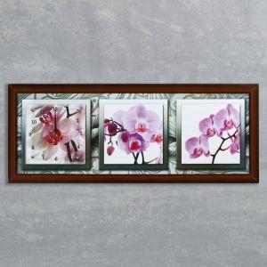 """Часы-картина настенные, серия: Цветы, """"Орхидеи в черно-белой рамке"""", 35х100  см, микс 1222616"""