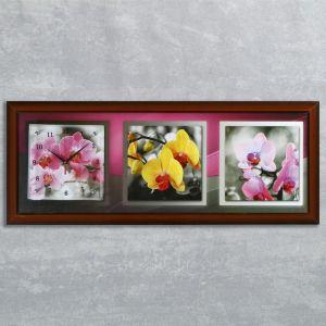 """Часы-картина настенные, серия: Цветы, """"Орхидеи на сером фоне"""", 35х100  см, микс 1210490"""
