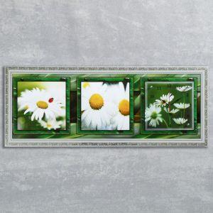 """Часы-картина настенные, серия: Цветы, """"Ромашки в поле"""", 35х100  см, микс 1210497"""