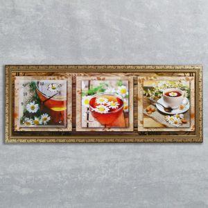 """Часы-картина настенные, серия: Цветы, """"Ромашковый чай"""", 35х100  см, микс 1210499"""