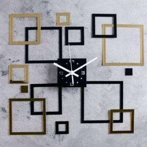 "Часы-наклейка DIY ""Квадратиш"" d=15 см, плавный ход, тип батарейки 1 АА   4632055"
