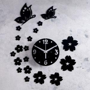 "Часы-наклейка DIY ""Цветы и бабочки"" d=15 см, плавный ход, тип батарейки 1 АА   4632053"
