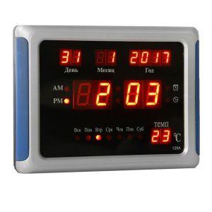 Часы настенные электронные с календарём и будильником, красные цифры 23х5х17 см микс 1418794