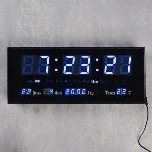 Часы настенные электронные с календарём и будильником, синие цифры 15х5х36 см 1418793