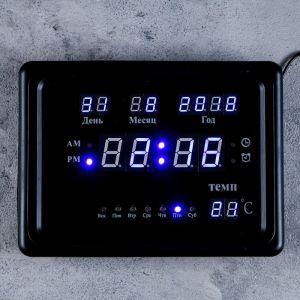 Часы настенные электронные с календарём и будильником, синие цифры, 23х5х17 см 1418797
