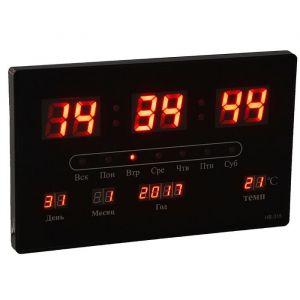 Часы настенные электронные с календарём и термометром, красные цифры 33х20х3 см 1418798