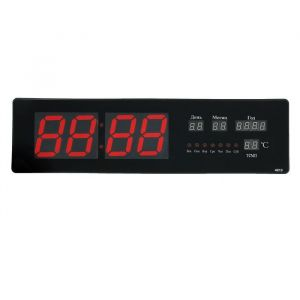 Часы настенные электронные с календарём, красные цифры, 48х5х13 см 1418791