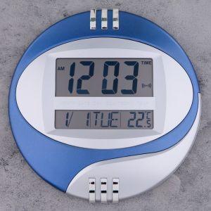 Часы настенные электронные с календарем, таймером и термометром, 26х26х3 см, микс 1385494