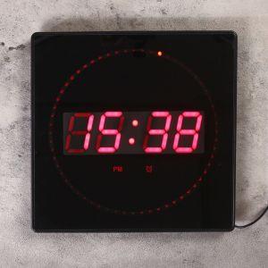 Часы настенные электронные с термометром и будильником, красные цифры 32х32х3 см 1302102