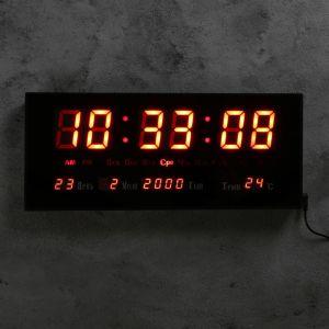 Часы настенные электронные с термометром, будильником и календарём, цифры красные, 15х36 см 1182395