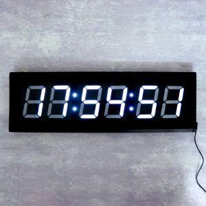 Часы настенные электронные, белые цифры, 60х19.5х3 см   4128586