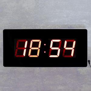 Часы настенные электронные, красные цифры, 49х22х3 см 4128585