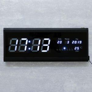 Часы настенные электронные, с термометром и календарём, белые  цифры, 48х19х3 см   4128581
