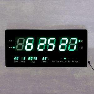 Часы настенные электронные, с термометром и календарём, зеленые цифры, 48х19х3 см   4128583