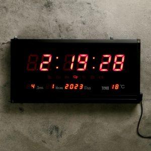 Часы настенные электронные, с термометром и календарём, красные цифры, 38х3х19 см   4757209