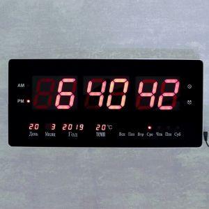 Часы настенные электронные, с термометром и календарём, красные цифры, 48х19х3 см 4128582