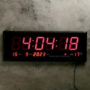 Часы настенные электронные, с термометром и календарём, красные цифры, 64х24х3 см 4128579