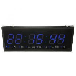 Часы настенные электронные, синие цифры, 48.5х3.5х19 см 2316594