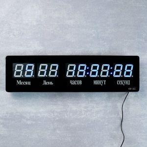 Часы настенные электронные, синие цифры, 49.5х3.5х14 см 2316592
