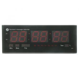 Часы настенные электронные, температура, дата, время, день недели, календарь, цифры красные 20х50 см