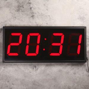 Часы настенные электронные, цифры красные, 26х60 см 1716981