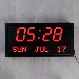 Часы настенные электронные, цифры красные, крупные 38х19х5 см   4105022
