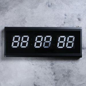 Часы настенные электронные, цифры синие 19х48 см 1716985