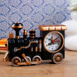 """Будильник """"Старый паровоз"""", медный матовый, 22х5.5х16 см 2326976"""