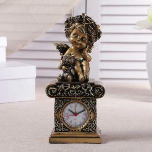 """Часы настольные """"Ангел с медвежонком"""", цвет золото, h=25.5 см 3940701"""
