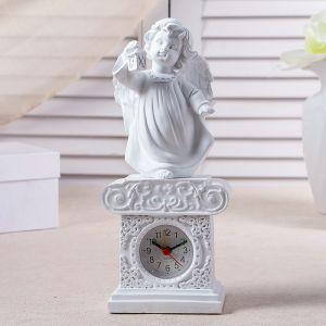 "Часы настольные ""Ангел с фонариком"", цвет белый, h=25 см 3940690"