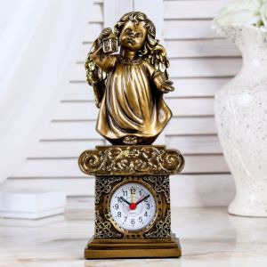 """Часы настольные """"Ангел с фонариком"""", цвет золото, h=25 см 3940689"""