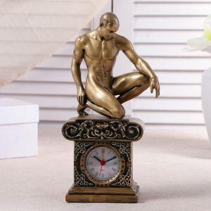 """Часы настольные """"Атлет"""", цвет золото, 26.5х11.5х7.5 см 3940711"""