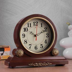 """Часы настольные """"Берта"""" 30х26 см, корпус коричневый с золотом, микс  4833057"""