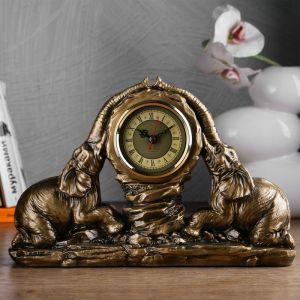 "Часы настольные ""Два слона"", цвет золото, 30х20х7 см 3940712"