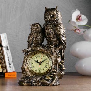 """Часы настольные """"Две совы"""", цвет золото 3940713"""