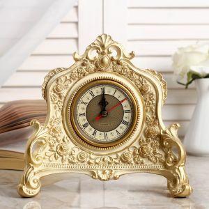 """Часы настольные """"Каминные"""", цвет  белый с позолотой, 21х19х6.5 см 3940737"""