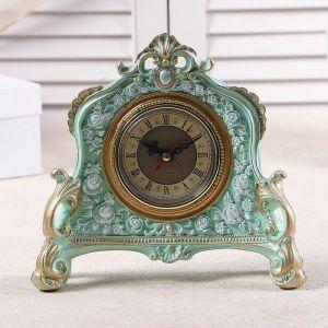 """Часы настольные """"Каминные"""", цвет  бирюзовый, 21х19х6.5 см 3940738"""