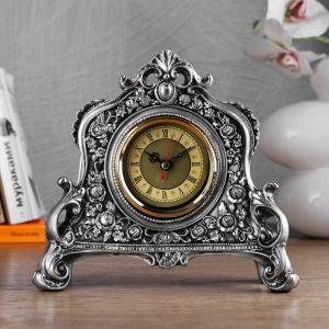 """Часы настольные """"Каминные"""", цвет серебряный,  21х19х6.5 см 3940741"""