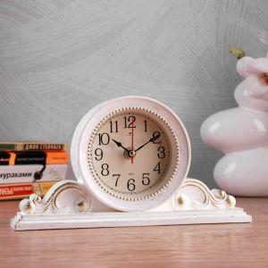 """Часы настольные """"Милица"""" 26х14 см, корпус белый с золотом 4833055"""