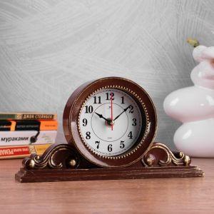 """Часы настольные """"Милица"""" 26х14 см, корпус коричневый с золотом 4833056"""