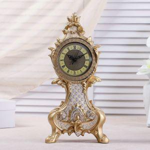"""Часы настольные """"Рококо"""", цвет бежевый перламутр, 38х17.5х10 см 3940743"""