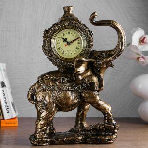 "Часы настольные ""Слониха"", цвет  бронзовый, 35х22х10 см 4824571"